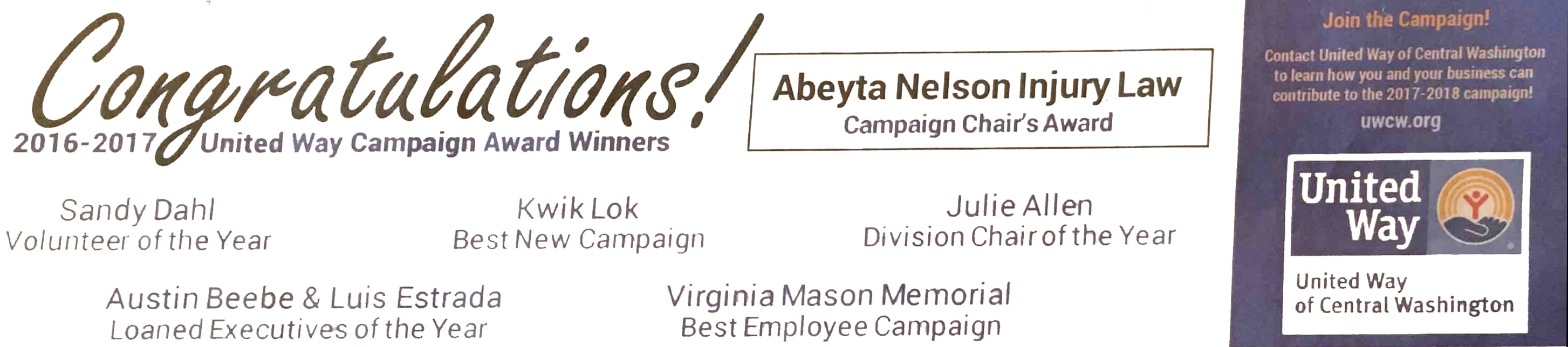 Abeyta Nelson Injury Law Honored by United Way of Central Washington